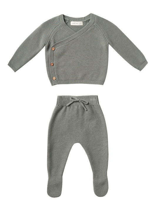 【SALE40%OFF】QUINCY MAE      Knit Kimono Set / eucalyptus