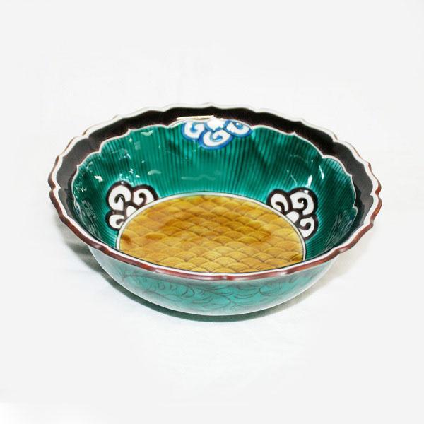 九谷焼 手描き 和洋食器 青手青海波文様大鉢