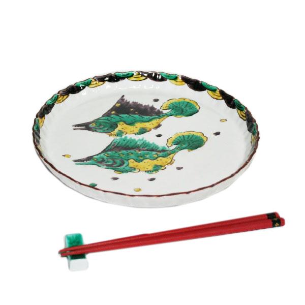 九谷焼 手描き 和洋食器 魯山人うつし 双魚文八寸皿