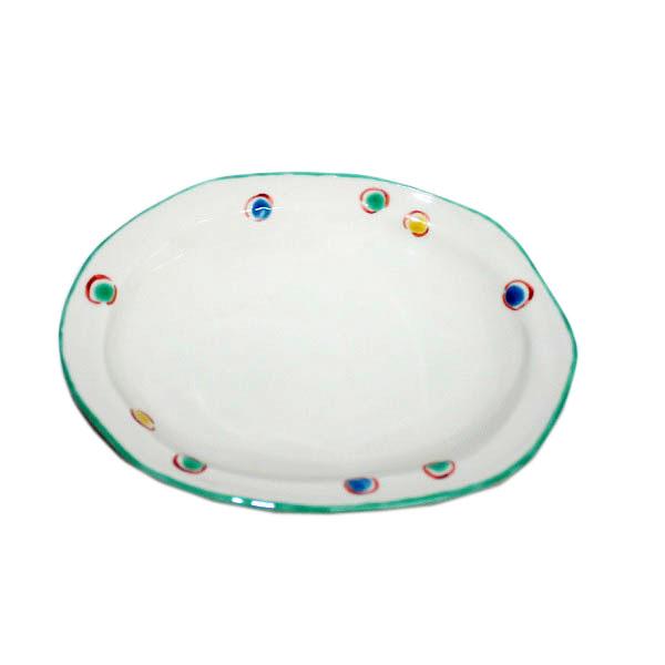 九谷焼 手描き 和洋食器 水玉文六寸楕円皿