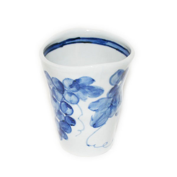 九谷焼 手描き 和洋食器 染付葡萄文様大焼酎カップ