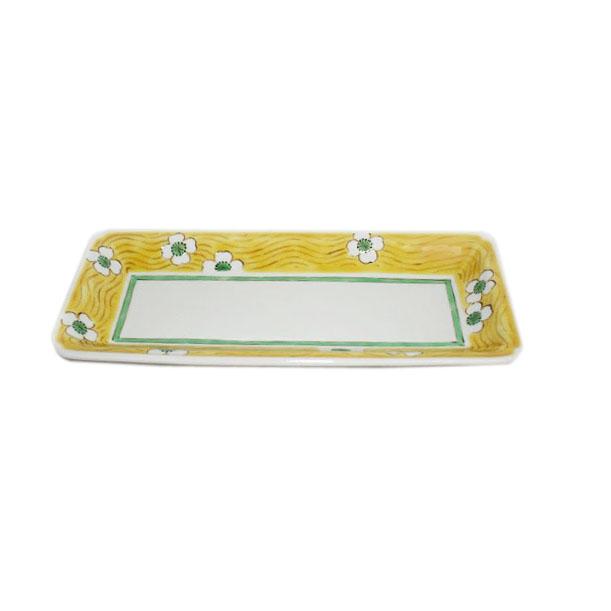 九谷焼 手描き 和洋食器 白花文八寸細長皿