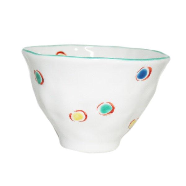 九谷焼 手描き 和洋食器 手起し水玉文お茶碗