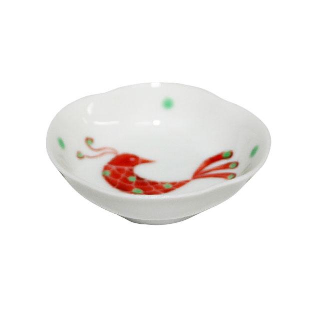 木瓜赤い鳥文様豆皿