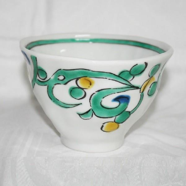 九谷焼 手描き 和洋食器 手起しペルシャ唐草文様お茶碗