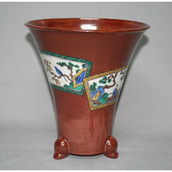九谷焼 手描き 植木鉢 吸坂手古九谷文様蘭鉢