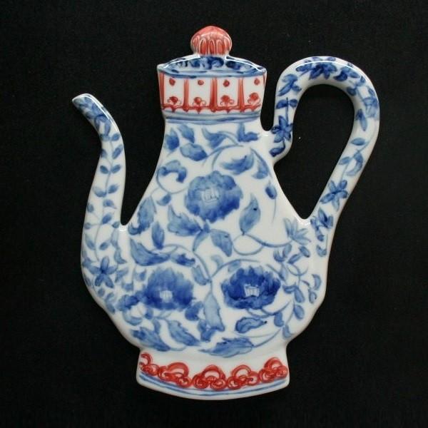 九谷焼 手描き 染付壷形陶額