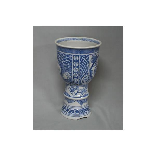 九谷焼 手描き 植木鉢 染付獅子文様蘭鉢
