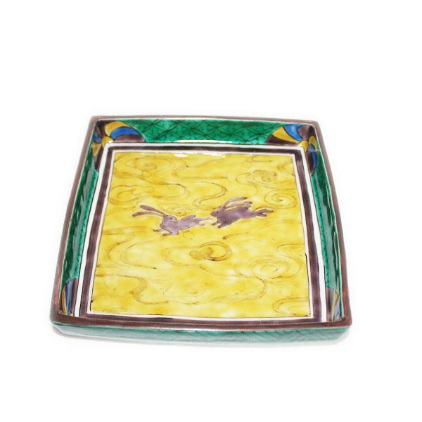 九谷焼 手描き 和洋食器 吉田屋手兎文様足付六寸角皿