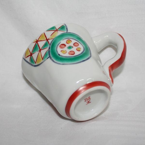 九谷焼 手描き 和洋食器 手起し丸紋文様マグカップ