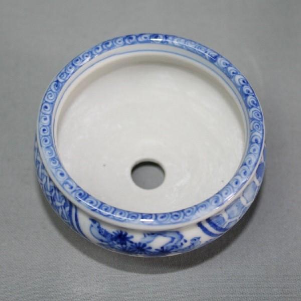 九谷焼 手描き 植木鉢 染付松竹梅文様2号丸鉢