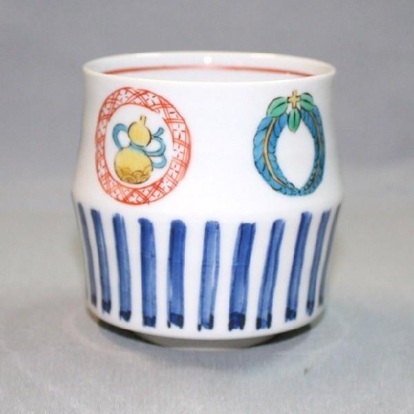 九谷焼 手描き 和洋食器 丸紋づくし文様湯呑