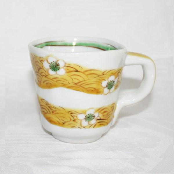 九谷焼 手描き 和洋食器 手起し白花文様マグカップ