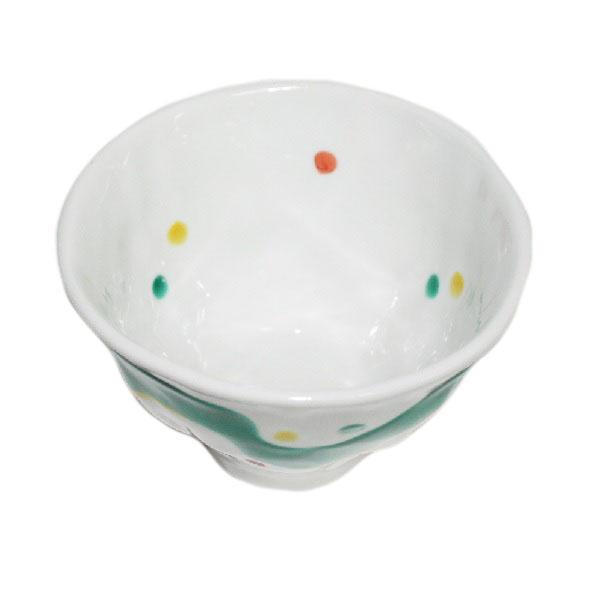九谷焼 手描き 和洋食器 手起し水玉よろけお茶碗