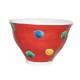 九谷焼 手描き 和洋食器 手起し赤巻水玉文お茶碗