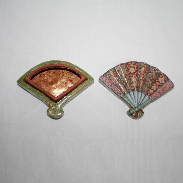 九谷焼 手描き 扇面香合