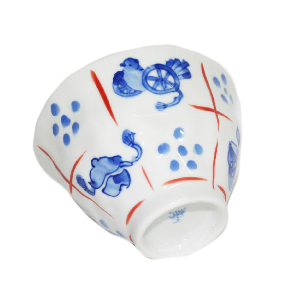 九谷焼 手描き 和洋食器 手起し道具づくし文お茶碗