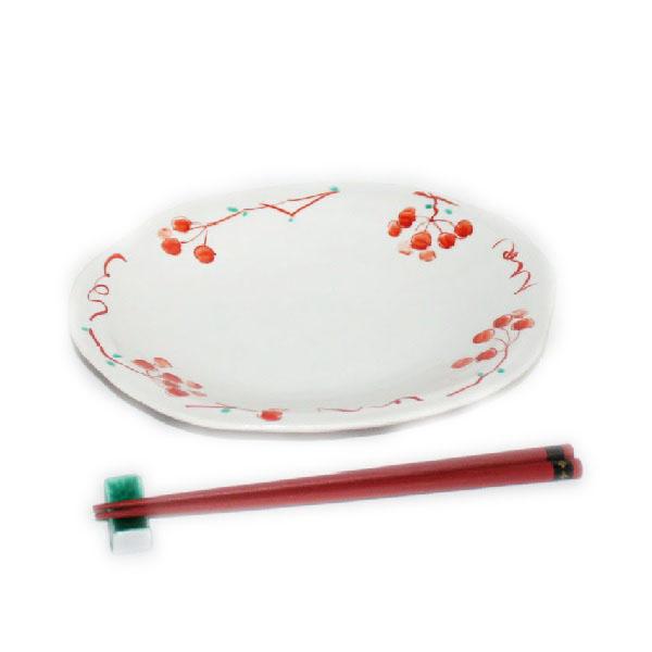 九谷焼 手描き 和洋食器 山帰来文八寸楕円皿