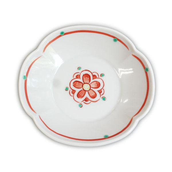 赤い梅文様木瓜三・七寸皿