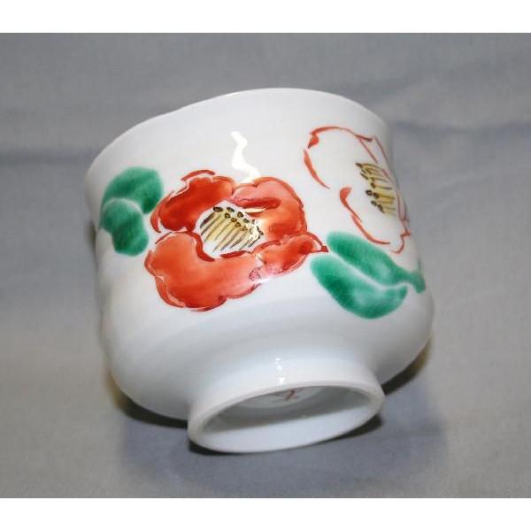 九谷焼 手描き 和洋食器 椿文様いっぷく碗