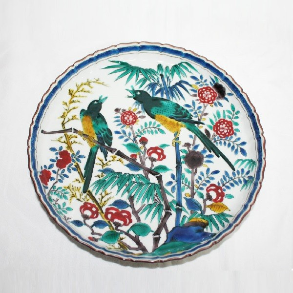 九谷焼 手描き 飾皿 はは鳥文様尺皿 (山岸 雄三)