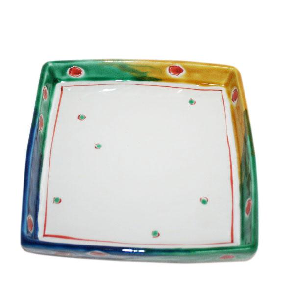 九谷焼 手描き 和洋食器 ビー玉文足付六寸皿