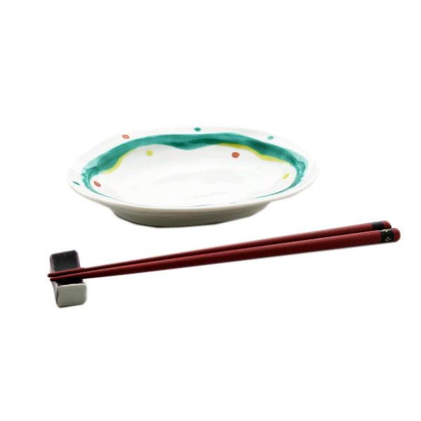 九谷焼 手描き 和洋食器 水玉よろけ文六寸楕円皿