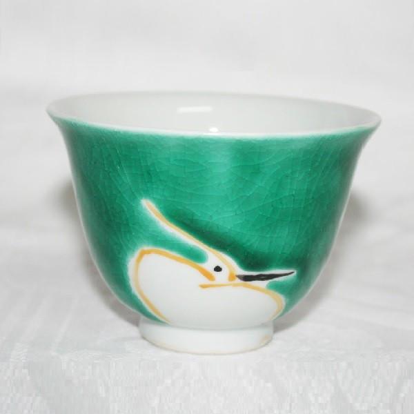 九谷焼 手描き 和洋食器 鷺文汲出<グリーンを地に白い鷺が浮き出た古典柄の汲出>