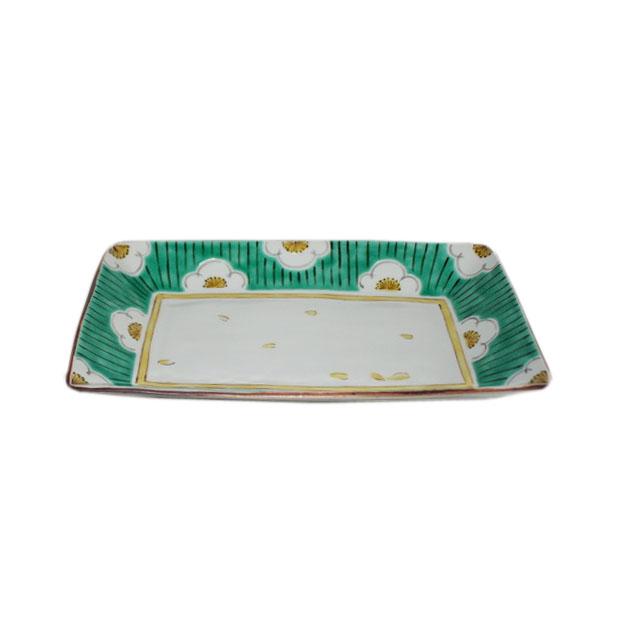 九谷焼 手描き 和洋食器 白梅文様八寸長皿