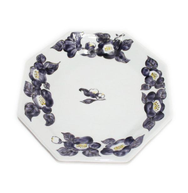 九谷焼 手描き 和洋食器 椿文八角八寸皿