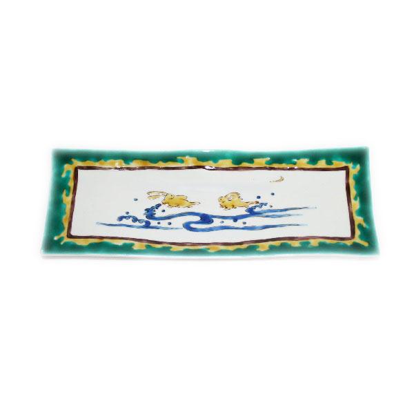 九谷焼 手描き 和洋食器 古九谷手釣人文様尺二長形皿
