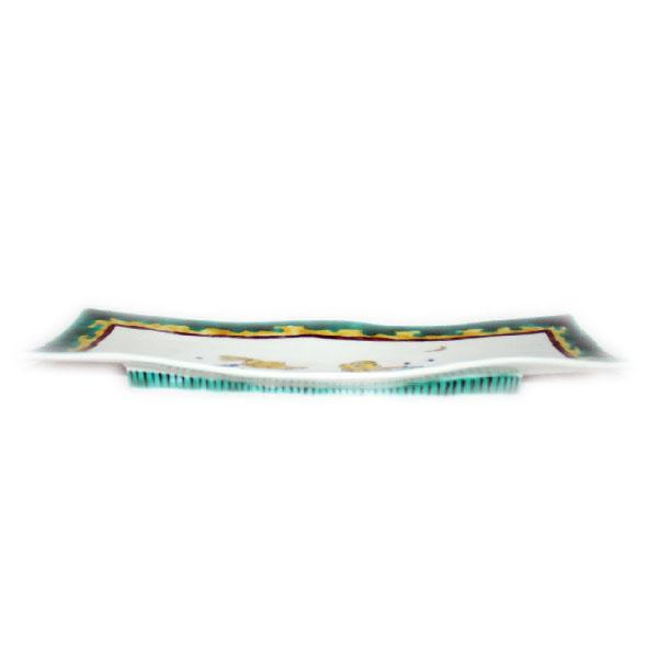 九谷焼 手描き 和洋食器 古九谷手兎文様尺二長形皿