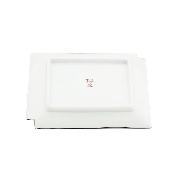 九谷焼 手描き 和洋食器 市松文様五寸長形皿(赤)