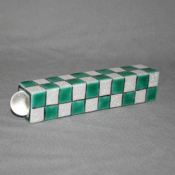九谷焼 手描き 万華鏡 市松文様(緑)万華鏡(テレード形)