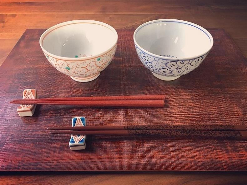 しっぽり揃え�(夫婦茶碗、箸置のセット)