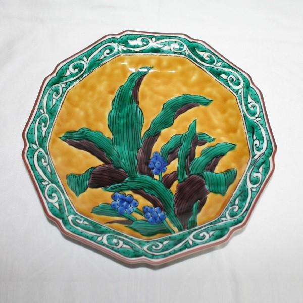 九谷焼 手描き 飾皿 おもと唐草文尺飾皿