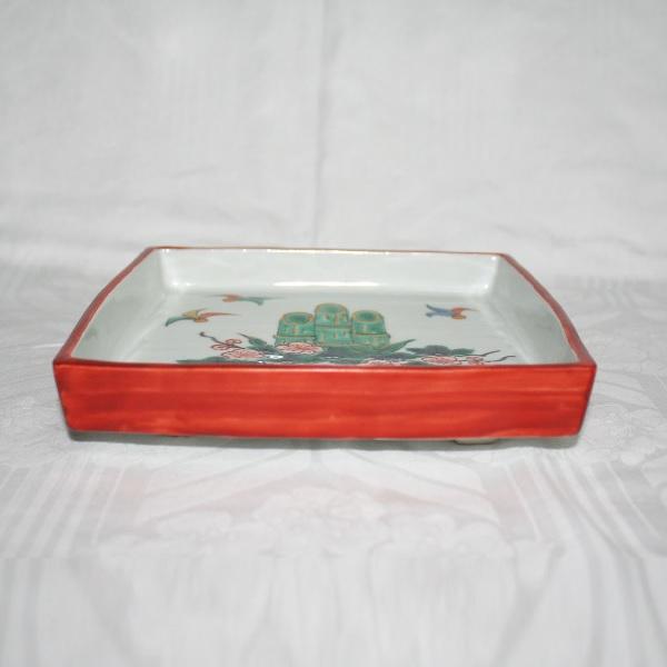 九谷焼 手描き 飾皿 門松文足付六寸皿