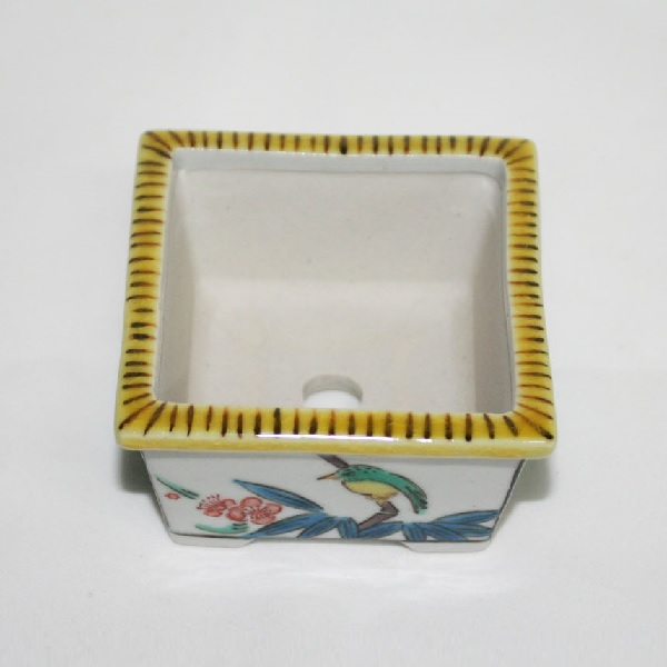 九谷焼 手描き 植木鉢 古九谷手 竹に鳥文様二寸角鉢