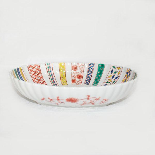 九谷焼 手描き 和洋食器 小紋づくし文様九寸楕円菊鉢