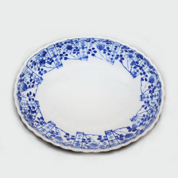 九谷焼 手描き 和洋食器 染付草花文様九寸楕円菊鉢