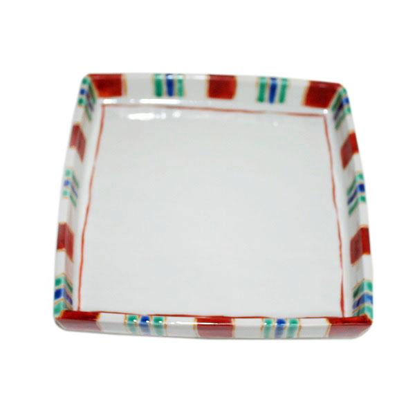 九谷焼 手描き 和洋食器 縞文足付六寸皿
