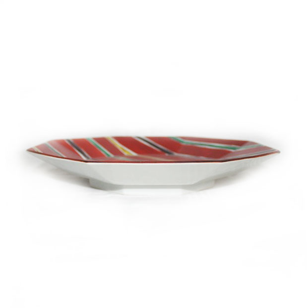九谷焼 手描き 和洋食器 間道文八角九寸皿