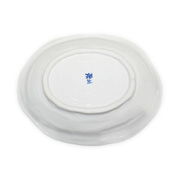 九谷焼 手描き 和洋食器 染付山帰来文八寸楕円皿