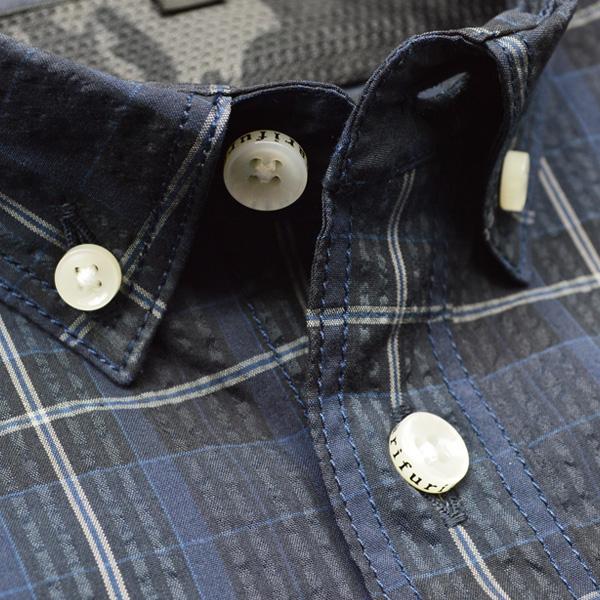 シアサッカー ショートスリーブシャツ【Seersucker Short Sleeve Shirts】<Navy> / narifuri (ナリフリ)