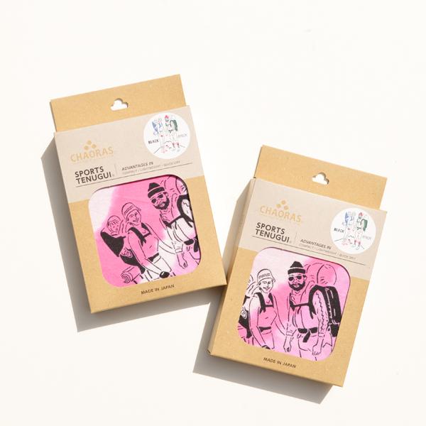 CHAORAS(チャオラス) / 「ブラックブリック」 タイダイ うずまき スポーツてぬぐい 【「BLACK BRICK」 Tie Dye Swirl Sports TENUGUI】<Pink>