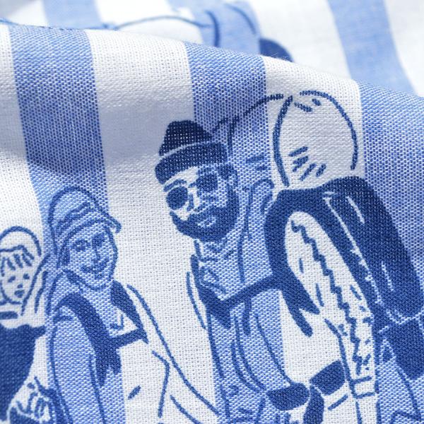 CHAORAS(チャオラス) / 「ブラックブリック」 ボーダースポーツてぬぐい  【「BLACK BRICK」 Border Sports TENUGUI】<Blue>