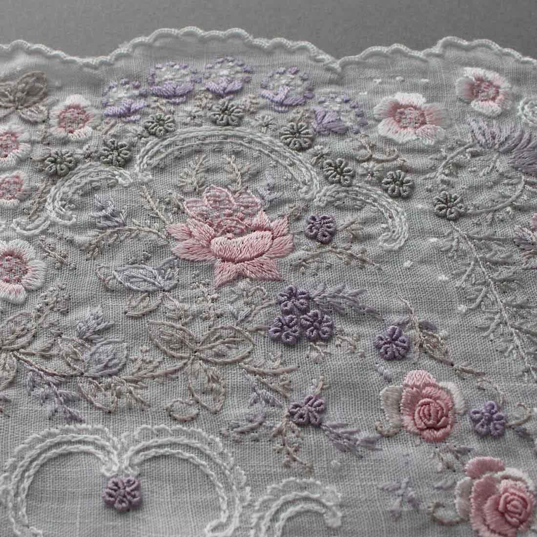 【送料無料】ベトナム手刺繍ハンカチ 扇子デザイン 6212 ピンク