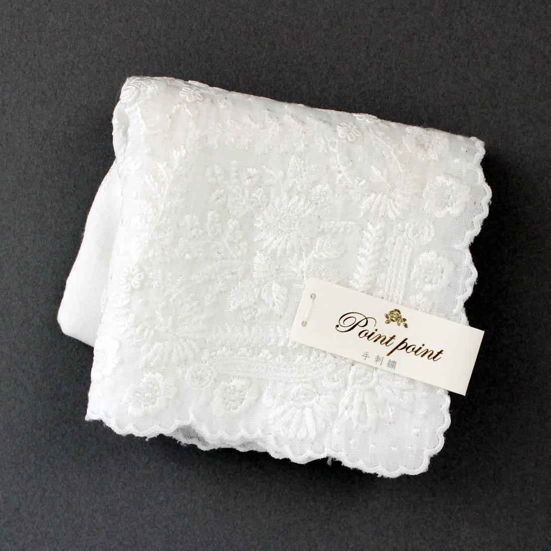 【送料無料】ベトナム手刺繍ハンカチ 扇子デザイン 6212 ホワイト