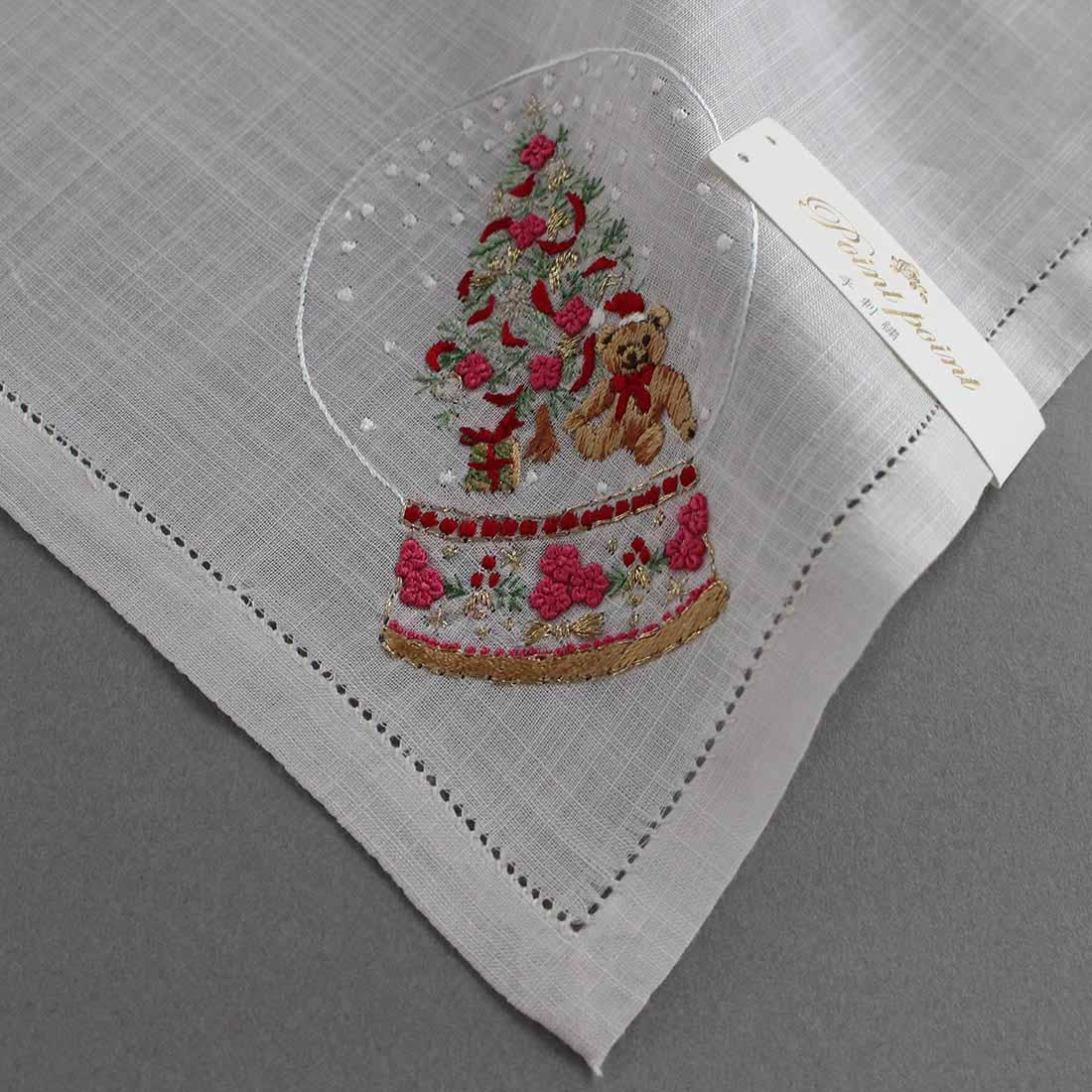 ポワンポワン ベトナム手刺繍ハンカチ Xmas 6701-40 ツリー グレー