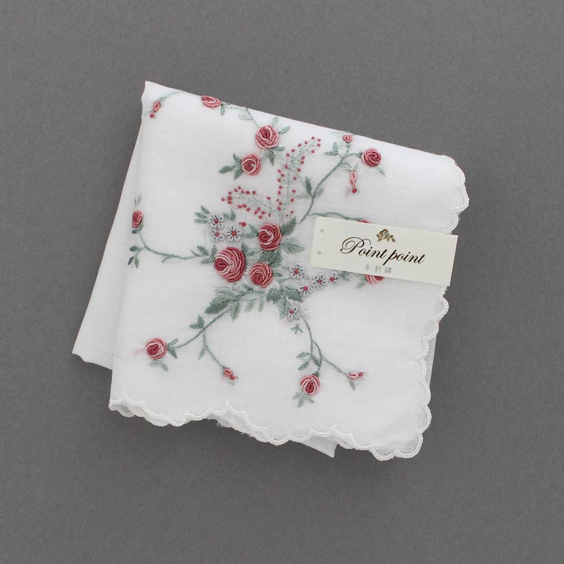 【送料無料】ポワンポワン ベトナム手刺繍 ハンカチ バラ 6201